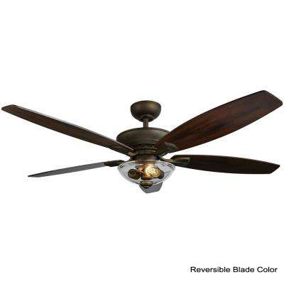 Connor 54 in. LED Bronze Dual-Mount Ceiling Fan with Light Kit and Remote Control