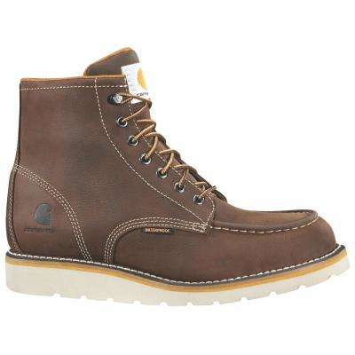 Men's Brown Leather Waterproof Moc-Toe Wedge Soft Toe Lace-up Work Boot