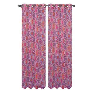 Olina Printed Sheer Grommet Extra Wide Curtain Panel, 54 in. W x 84 in. L