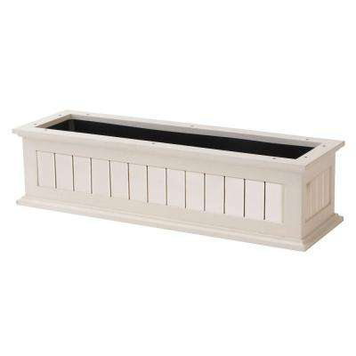 36 in. White Nantucket Wood Window Box