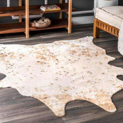 Iraida Faux Cowhide Off-White 4 ft. x 5 ft. Area Rug