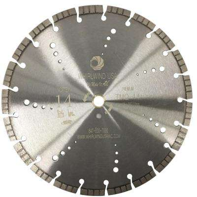 14 in. 21-Teeth Vortex Turbo Segmented Laser Welded Diamond Blade for Dry Wet Cutting Concrete Stone Brick Masonry