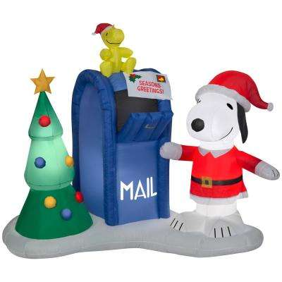 Holiday 5 ft. H x 7.15 in. W Inflatable Airblown Snoopy and Woodstock with Mailbox Scene