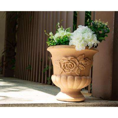 13.8 in. Tall Light Terracotta Lightweight Concrete Round Indoor/Outdoor Urn Planter