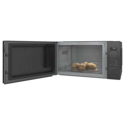 Profile 2.2 cu. ft. Countertop Microwave in Black Stainless Steel with Sensor Cooking, Fingerprint Resistant