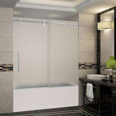 Langham 56 in. to 60 in. x 60 in. Completely Frameless Sliding Tub Door with Frosted Glass in Stainless Steel