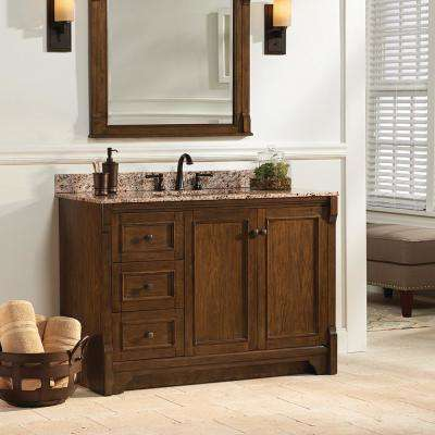 Creedmoor 49 in. W x 22 in. D Vanity in Walnut with Granite Vanity Top in Santa Cecilia with White Sink