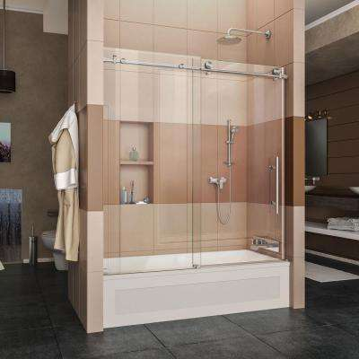 Enigma-X 56 in. to 59 in. x 62 in. Frameless Sliding Tub Door in Brushed Stainless Steel with Handle