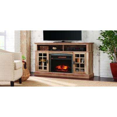 Brookdale 60 in. Media Console Infrared Electric Fireplace in Natural Beige Driftwood Finish