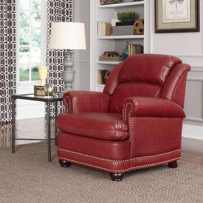 Winston Red Faux Leather Arm Chair