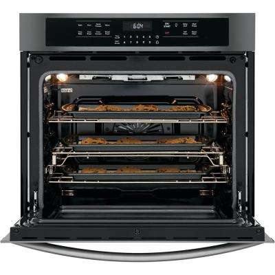 30 in. Single Electric Wall Oven with True Convection Self-Cleaning in Black Stainless Steel