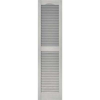 15 in. x 60 in. Louvered Vinyl Exterior Shutters Pair in #030 Paintable