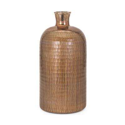 Marnie 21 in. Glass Decorative Vase in Copper