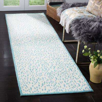 Marbella Ivory/Turquoise 2 ft. 3 in. x 8 ft. Runner Rug