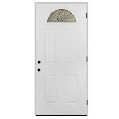 Webville Fan Lite Primed White Steel Prehung Front Door