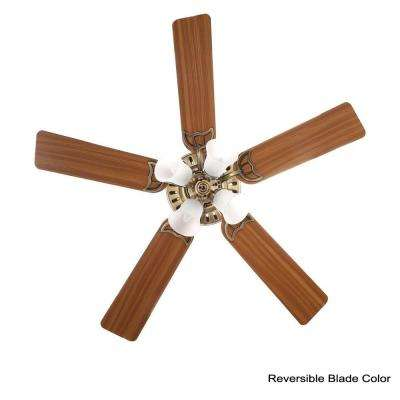 Studio Series 52 in. Indoor Antique Brass Ceiling Fan with Light Kit