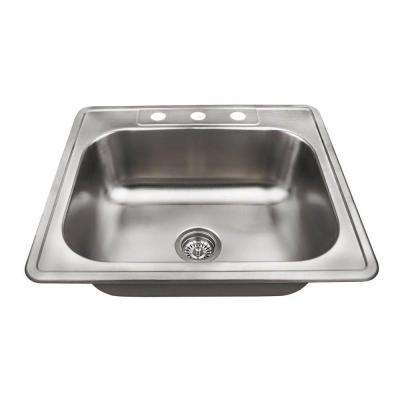 Topmount Stainless Steel 25 in. 3-Hole Single Bowl Kitchen Sink