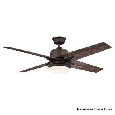 56 in. Montel LED Espresso Bronze Ceiling Fan With Light and Remote Control