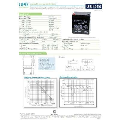 12-Volt 5 Ah F1 Terminal Sealed Lead Acid (SLA) AGM Rechargeable Battery