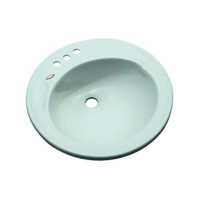 Province Drop-In Bathroom Sink with Faucet Holes in Seafoam