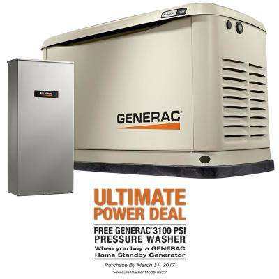 11,000-Watt (LP)/10,000-Watt (NG) Air Cooled Standby Generator with 16 Circuit 100 Amp Automatic Transfer Switch