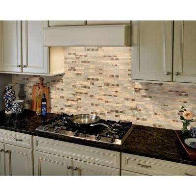 Champagne Toast Interlocking 12 in. x 12 in. x 4 mm Glass Metal Stone Mesh-Mounted Mosaic Tile