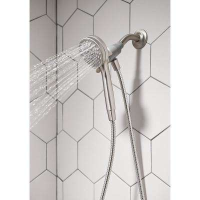 Attract 6-Spray 3.8 in. Single Wall Mount Handheld Shower Head in Spot Resist Brushed Nickel