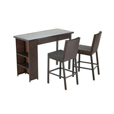Rehoboth 3-Piece Wicker Outdoor Bar Height Dining Set