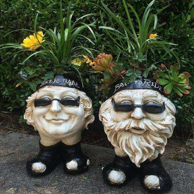 13 in. H Biker Dude and Babe Antique White Muggly Face Planter in Motorcycle Attire Statue Holds 4 in. Pot