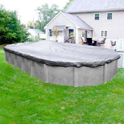 Extreme-Mesh XL Oval Silver Mesh Above Ground Winter Pool Cover