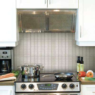 10.625 in. x 10.00 in. Mosaic Adhesive Decorative Wall Tile Backsplash Stainless in Silver