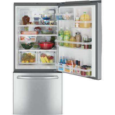 30 in. W 20.9 cu. ft. Bottom Freezer Refrigerator in Stainless Steel, with Icemaker