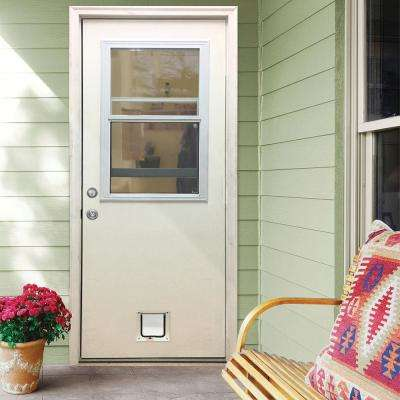 30 in. x 80 in. Classic Clear Vented Half Lite RHIS White Primed Fiberglass Prehung Front Door with Small Cat Door