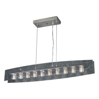10-Light Satin Nickel Pendant with Clear Glass
