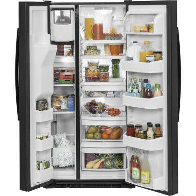 33 in. W 23.2 cu. ft. Side by Side Refrigerator in Black