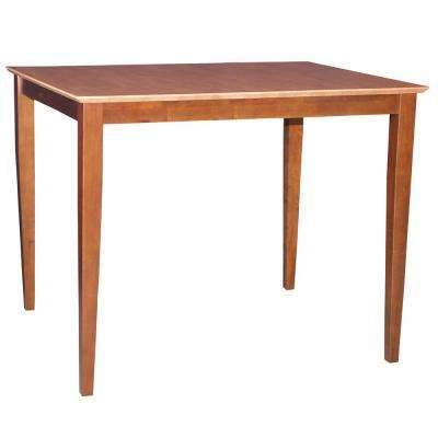 4 ft. Rectangular Counter Height Shaker Table in Cinnamon and Espresso