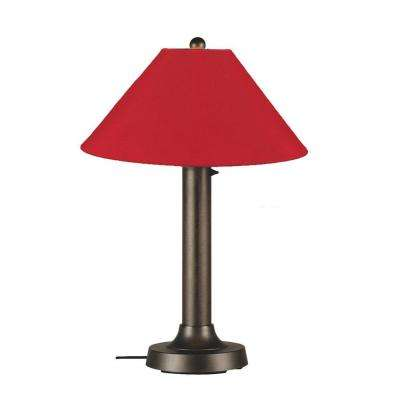 Catalina 34 in. Bronze OutdoorTable Lamp with Jockey Red Shade
