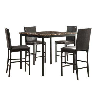 Bedford 5-Piece Faux Marble Metal Counter Height Dining Set in Black