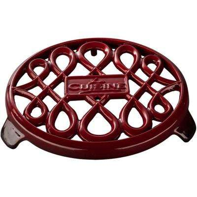 7 in. Round Cast Iron Trivet in Red