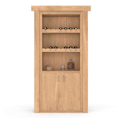 30 in. x 80 in. Flush Mount Assembled Hickory Unfinished Right-Hand Inswing Wine Rack Door