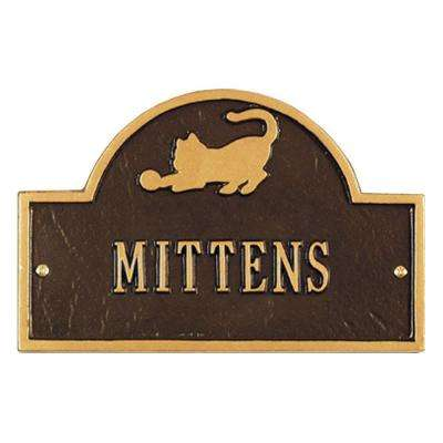 Pet Cat Mini Arch Bronze/Gold One Line Wall Marker