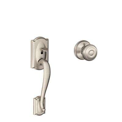 Camelot Satin Nickel Front Entry Handle with Georgian Interior Knob
