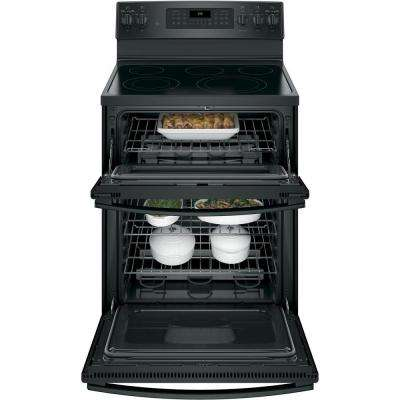 6.6 cu. ft. Double Oven Electric Range with Self-Cleaning and Convection Lower Oven in Black