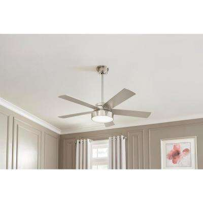 Cherwell 52 in. LED Brushed Nickel Ceiling Fan with Light