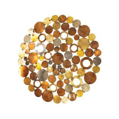 Novell 30 in. Round Mixed Metals Wall Art