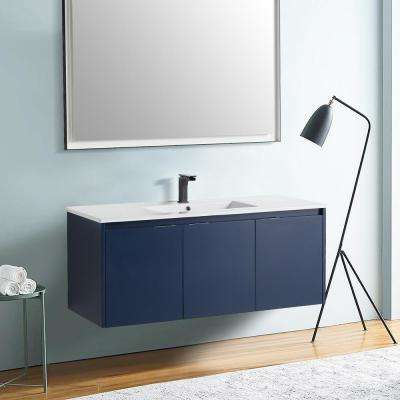 18 in. W x 19 in. D x 47 in. H Navy Blue Wall-Mounted Single Bathroom Vanity with Vanity Top in White with White Basin