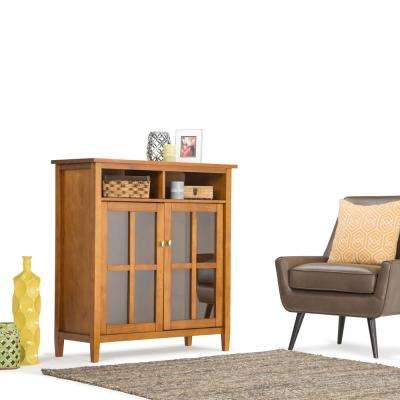 Warm Shaker Medium Storage and Entertainment Cabinet in Honey Brown Wood