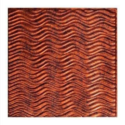 Current Horizontal - 2 ft. x 2 ft. Glue-up Ceiling Tile in Moonstone Copper