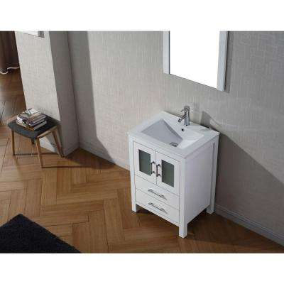 Dior 24 in. W Bath Vanity in White with Ceramic Vanity Top in Slim White Ceramic with Square Basin and Mirror and Faucet