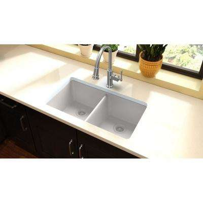 Quartz Classic Undermount Composite 33 in. 50/50 Double Bowl Kitchen Sink in White